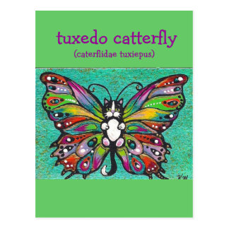 Tuxedo Catterfly Cat/Butterfly Whimsical Fantasy! Postcard