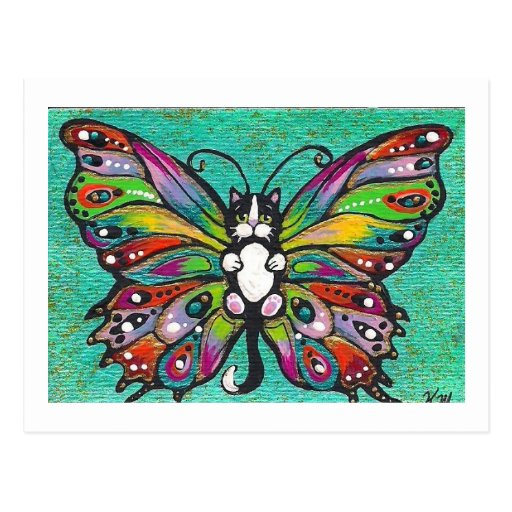 Tuxedo Catterfly Cat/Butterfly Whimsical Fantasy! Postcards