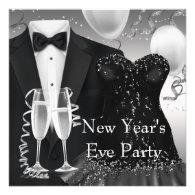 Tuxedo Champagne Confetti Black Tie Party Announcements