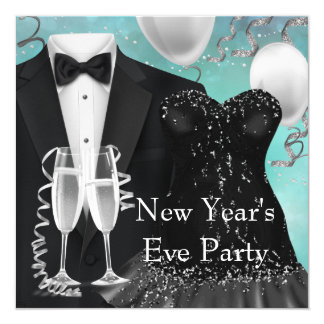 Tuxedo Champagne Confetti New Years Eve Party Card