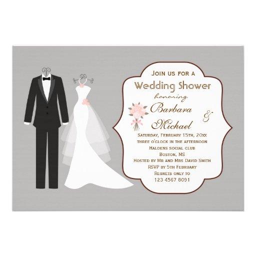 Tuxedo gown couple 39 s bridal shower invitation 5 x 7 for Wedding couples shower invitations