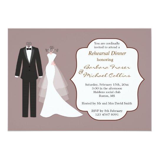 Tuxedo & gown on plum Rehearsal Dinner Invitation