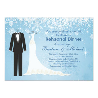 Tuxedo gown snowflakes Rehearsal Dinner Invitation
