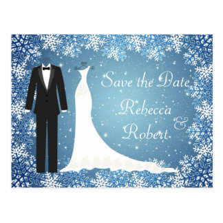 Tuxedo, Gown, Snowflakes Save the Date Postcard