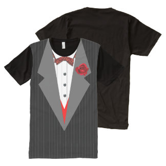 Tuxedo, Grey Stripe & Lapels, Red Tartan Bow All-Over-Print T-Shirt