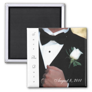 Tuxedo Groom Save The Date Magnet