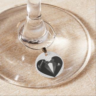 Tuxedo Groom Wine Glass Charm