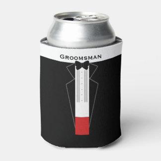 Tuxedo Groomsman Customisable Can Cooler