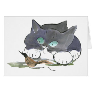 Tuxedo Kitten and a Black Slug Card