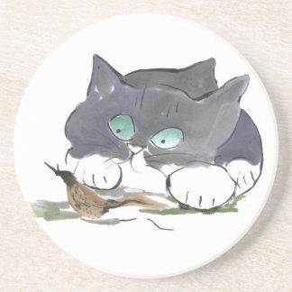 Tuxedo Kitten and a Black Slug Beverage Coasters