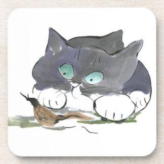 Tuxedo Kitten and a Black Slug Beverage Coaster