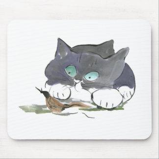 Tuxedo Kitten and a Black Slug Mouse Pad