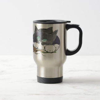 Tuxedo Kitten and a Black Slug 15 Oz Stainless Steel Travel Mug