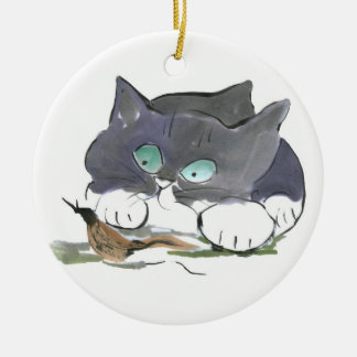 Tuxedo Kitten and a Black Slug Double-Sided Ceramic Round Christmas Ornament