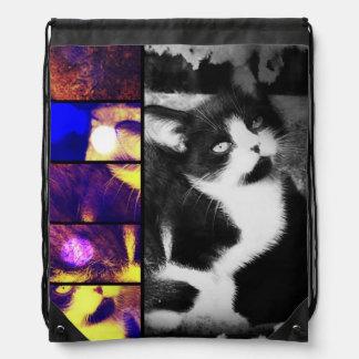 Tuxedo Kitten Collage Drawstring Backpack