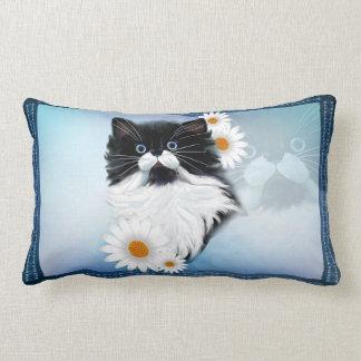 Tuxedo Kitten Face Lumbar Pillow