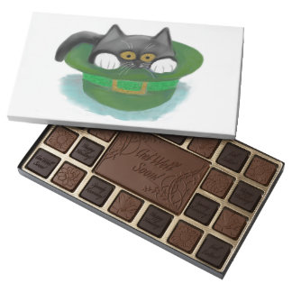 Tuxedo Kitten Fits inside a Leprechaun's Hat Assorted Chocolates