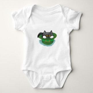 Tuxedo Kitten Fits inside a Leprechaun's Hat Baby Bodysuit