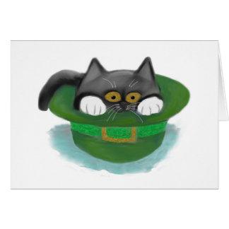 Tuxedo Kitten Fits inside a Leprechaun's Hat Card