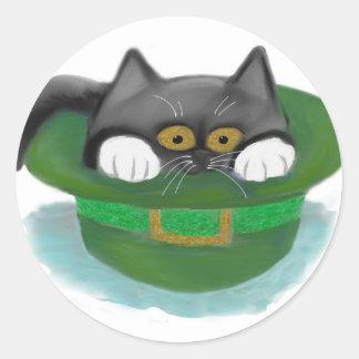 Tuxedo Kitten Fits inside a Leprechaun's Hat Classic Round Sticker