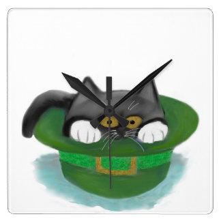 Tuxedo Kitten Fits inside a Leprechaun's Hat Square Wallclock