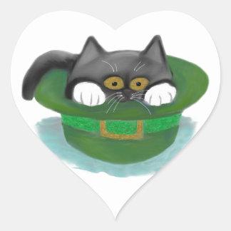 Tuxedo Kitten Fits inside a Leprechaun's Hat Heart Sticker
