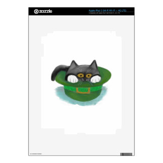Tuxedo Kitten Fits inside a Leprechaun's Hat iPad 3 Decals