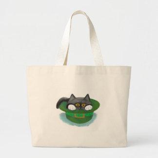 Tuxedo Kitten Fits inside a Leprechaun's Hat Large Tote Bag