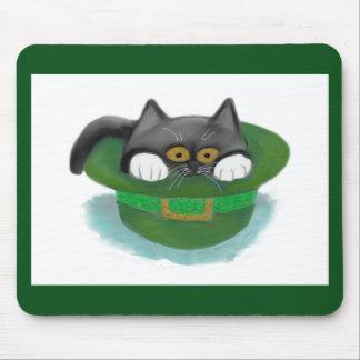 Tuxedo Kitten Fits inside a Leprechaun's Hat Mouse Pads