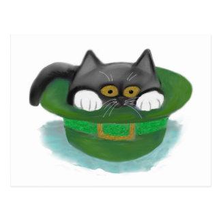 Tuxedo Kitten Fits inside a Leprechaun's Hat Postcard