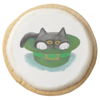 Tuxedo Kitten Fits inside a Leprechaun's Hat Round Shortbread Cookie