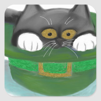 Tuxedo Kitten Fits inside a Leprechaun's Hat Square Sticker