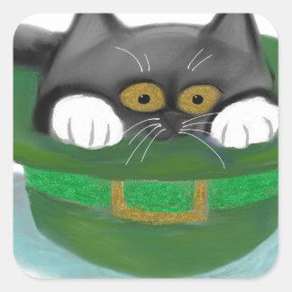 Tuxedo Kitten Fits inside a Leprechaun's Hat Square Sticker