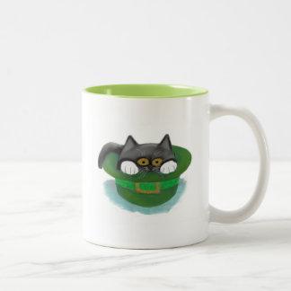 Tuxedo Kitten Fits inside a Leprechaun's Hat Two-Tone Coffee Mug