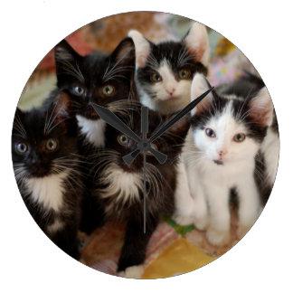 Tuxedo Kitten Group Large Clock