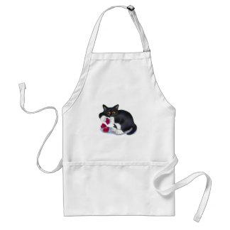 Tuxedo Kitten has Three Valentine Heart Catnip Toy Adult Apron