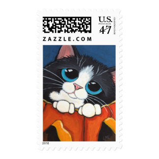 Tuxedo Kitten in a Halloween Pumpkin Postage