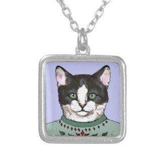 Tuxedo Kitten Necklace ~ 3 Lil' Kittens