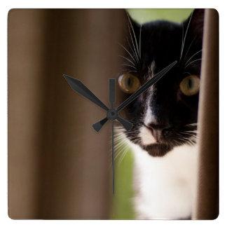 Tuxedo Kitten Peek-A-Boo Wall Clock