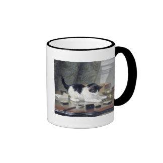 Tuxedo kitten playing dominoes painting gift coffee mug