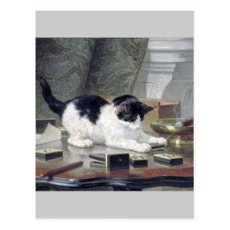 Tuxedo kitten playing dominoes painting gift postcard