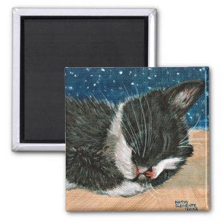 Tuxedo Kitten sleeping Magnet