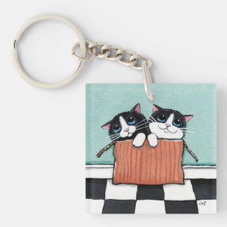 Tuxedo Kittens in a Cardboard Box Acrylic Key Chains