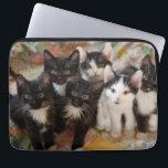 """Tuxedo Kittens Laptop Sleeve<br><div class=""""desc"""">Black and white kittens on quilt</div>"""