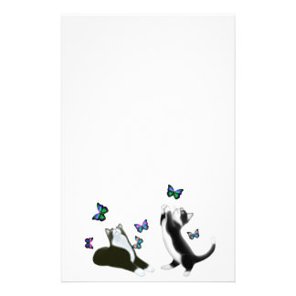 Tuxedo Kittens with Butterflies Stationery