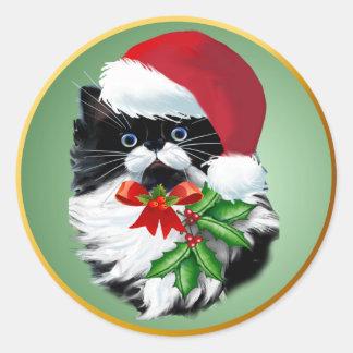 Tuxedo Kitty at Christmas Classic Round Sticker