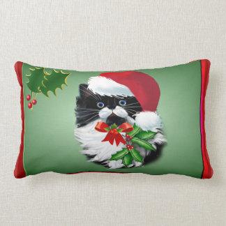 Tuxedo Kitty at Christmas Lumbar Pillow