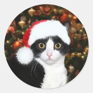 Tuxedo kitty cat Christmas Classic Round Sticker