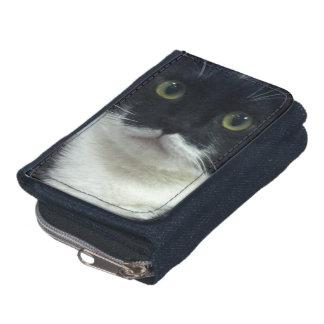 Tuxedo Kitty Denim Wallet with Coin Purse
