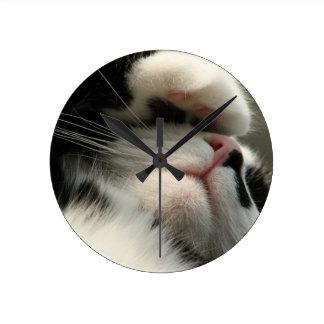 Tuxedo Kitty Has A Sick Headache Wall Clocks